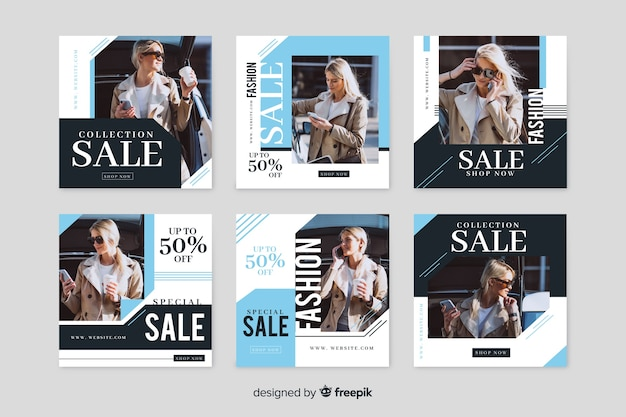 Instagram post collection with discounts Free Vector
