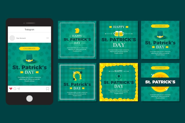 Instagram post collection with st. patricks day design Free Vector