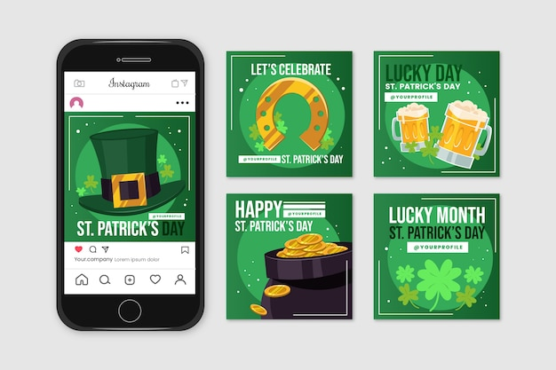 Instagram post collection with st. patricks day Free Vector