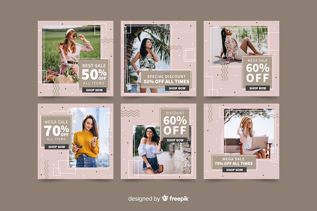 Instagram post pack template with photo Free Vector