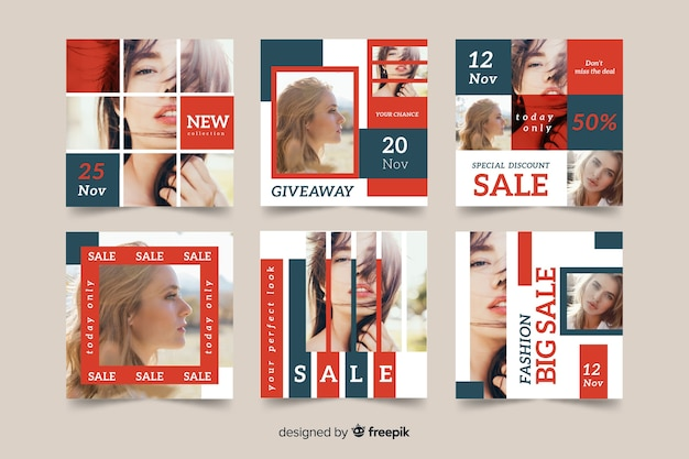 Instagram post pack template with picture Free Vector