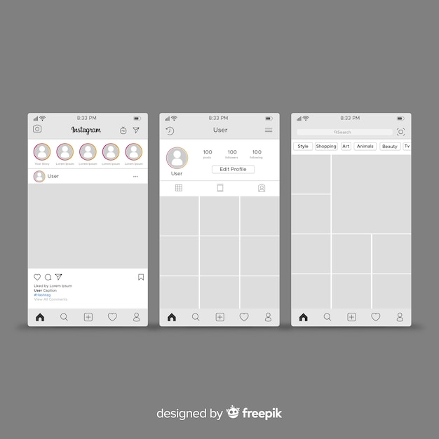 Instagram post and profile template Free Vector