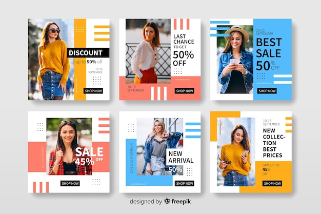Instagram post set template with photo Free Vector