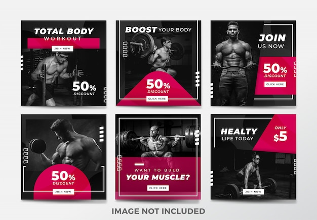 Instagram post or square banner. gym and fitness theme Premium Vector