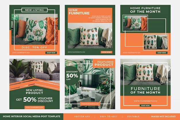 Instagram Post Or Square Banner For Home Interior Design Premium Vector