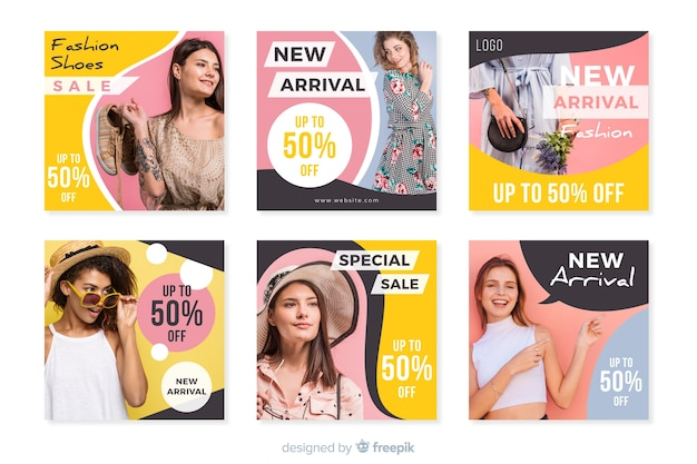 Instagram post template collection with photo Free Vector