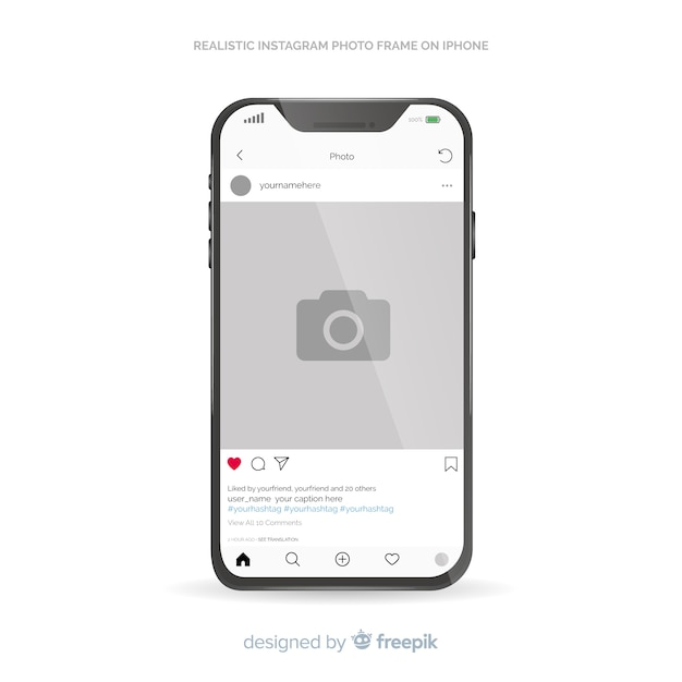 Instagram post template on iphone Free Vector