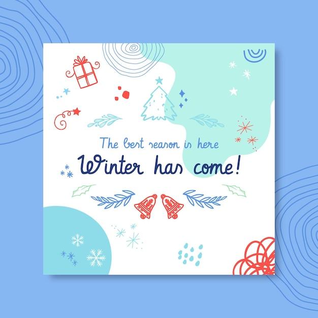 낙서 다채로운 겨울 드로잉의 instagram 게시물 템플릿 무료 벡터