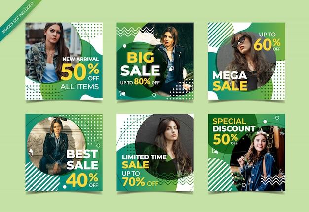 Instagram post template or square banner set, fashion sales Premium Vector