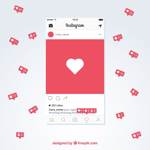 Instagram post template with notifications Free Vector