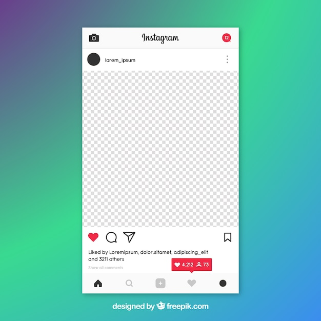instagram post template with notifications vector free download. Black Bedroom Furniture Sets. Home Design Ideas