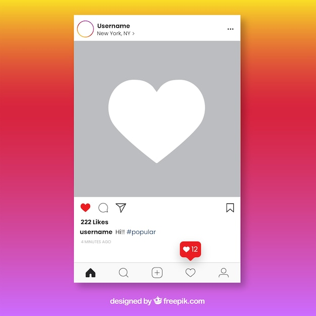 Instagram Post Template With Notifications Vector