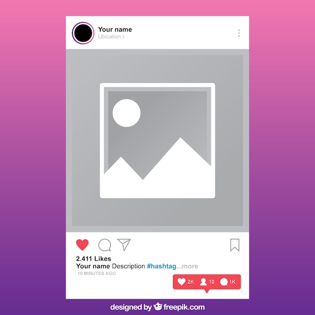 Instagram post template with notifications Vector | Free Download