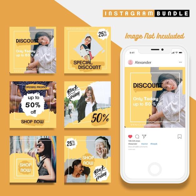 クリエイティブディスカウントinstagram post template Premiumベクター