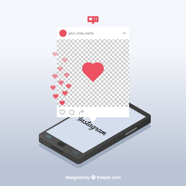 Instagram post with transparent background Free Vector
