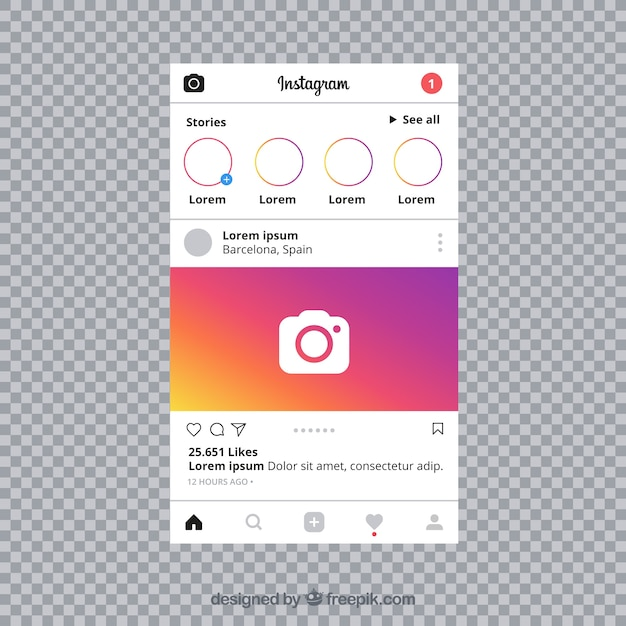 Instagram post with transparent background Vector | Free