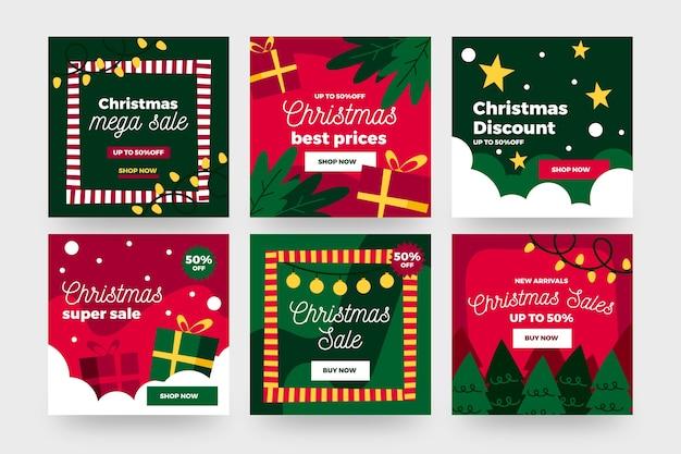 Коллекция рождественской распродажи instagram post Бесплатные векторы