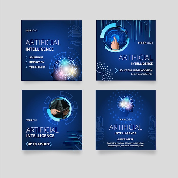 Instagram posts collection for artificial intelligence science Free Vector