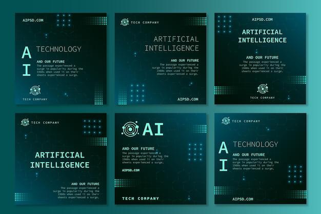 Raccolta di post di instagram per l'intelligenza artificiale Vettore gratuito
