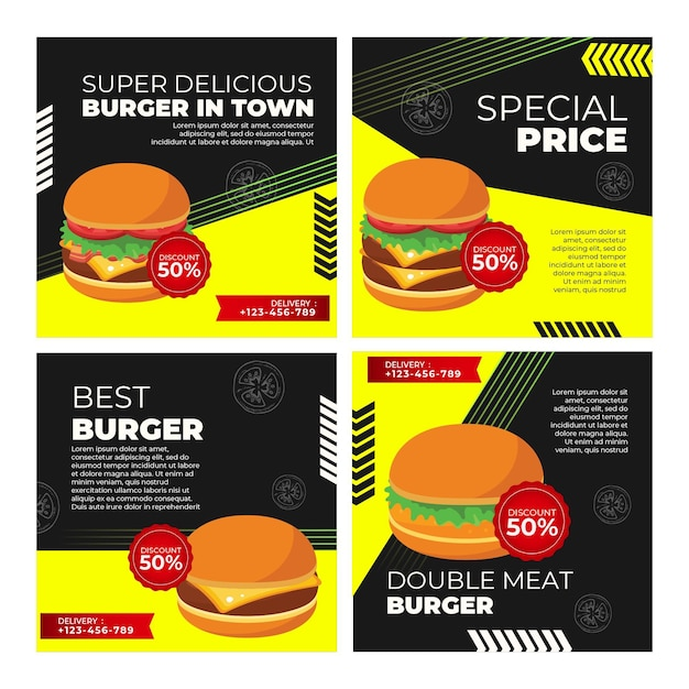 Instagram posts collection for burger restaurant Premium Vector
