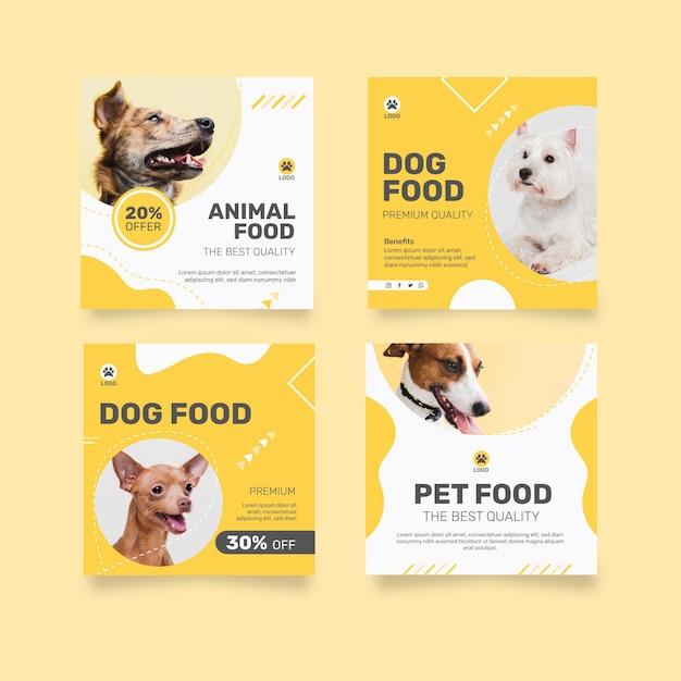 강아지와 함께 동물 사료에 대한 instagram 게시물 모음 무료 벡터