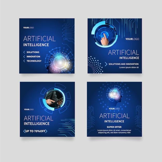 인공 지능 과학을위한 instagram 게시물 모음 무료 벡터