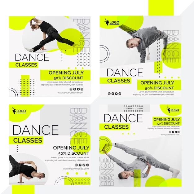 남자 연기자와 함께하는 춤 수업을위한 instagram 게시물 모음 무료 벡터