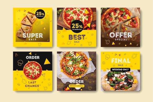 Коллекция постов в instagram для пиццерии Premium векторы