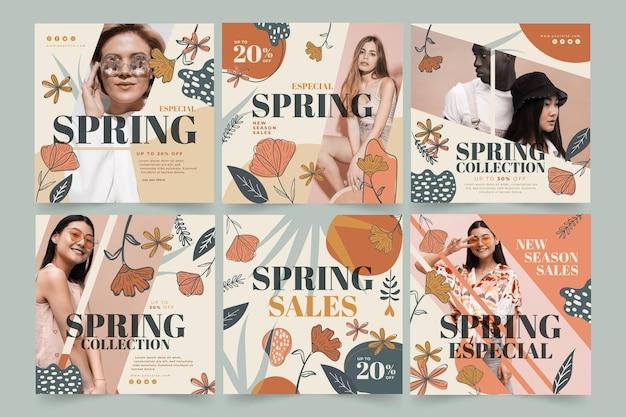 Instagramは春のファッションセールのコレクションを投稿します 無料ベクター
