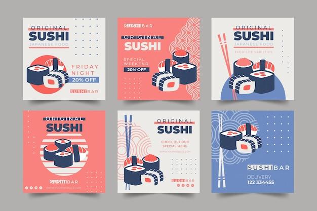 Коллекция постов в instagram для суши-ресторана Premium векторы