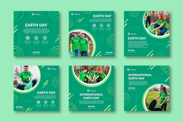 Instagram posts collection for mother earth day celebration Premium Vector