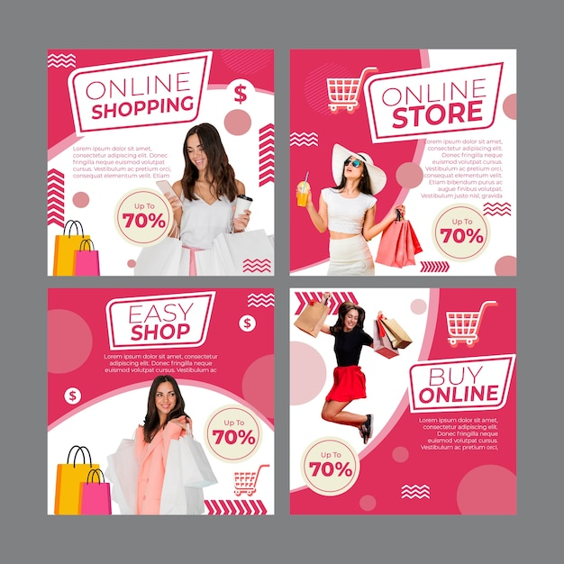 Instagram posts collection for online shopping Free Vector