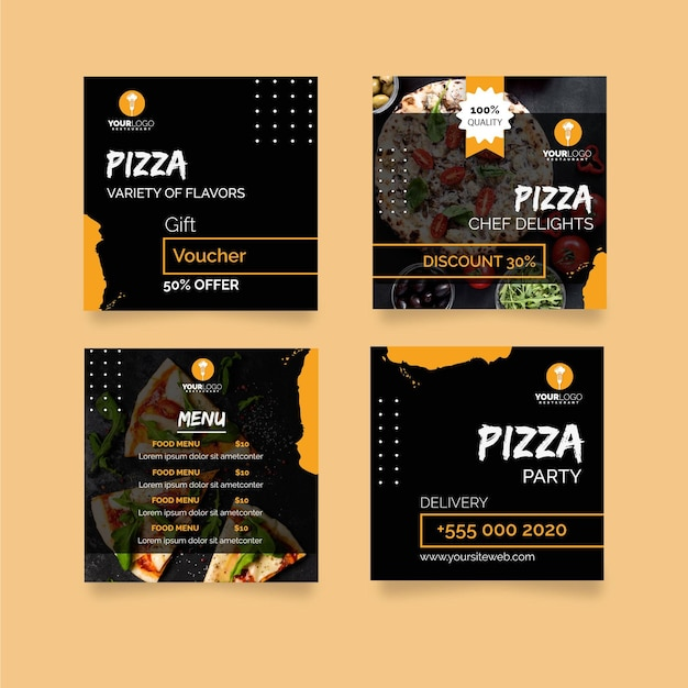 Instagram posts collection for pizza restaurant Free Vector