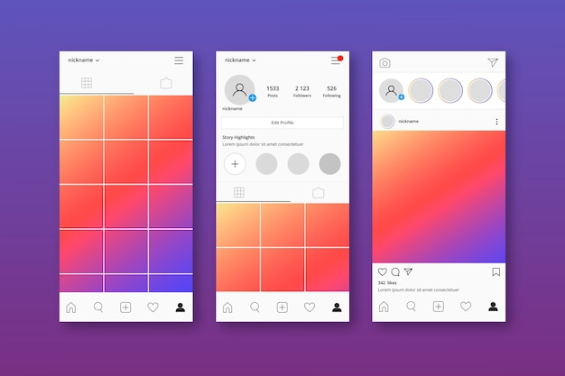 instagram profile interface template set free vector. Black Bedroom Furniture Sets. Home Design Ideas