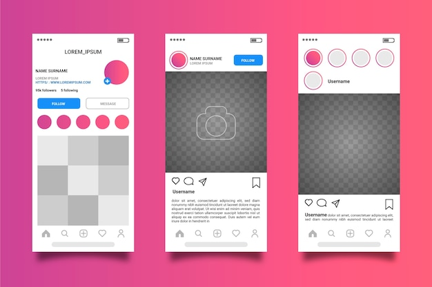 Instagram profile interface template theme Free Vector