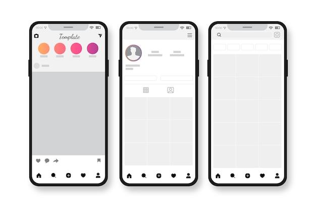 모바일 컨셉의 Instagram 프로필 인터페이스 템플릿 프리미엄 벡터
