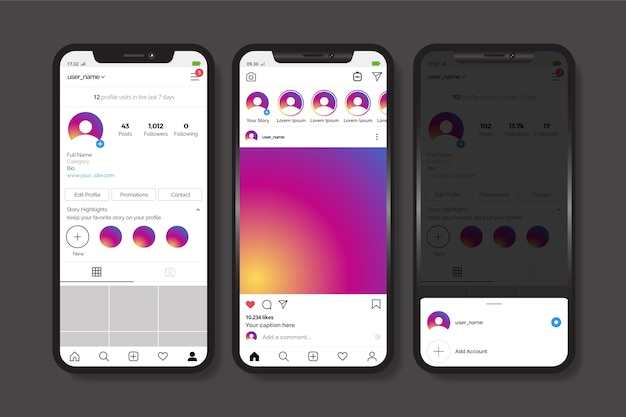 Instagram profile interface template with mobile phone Free Vector