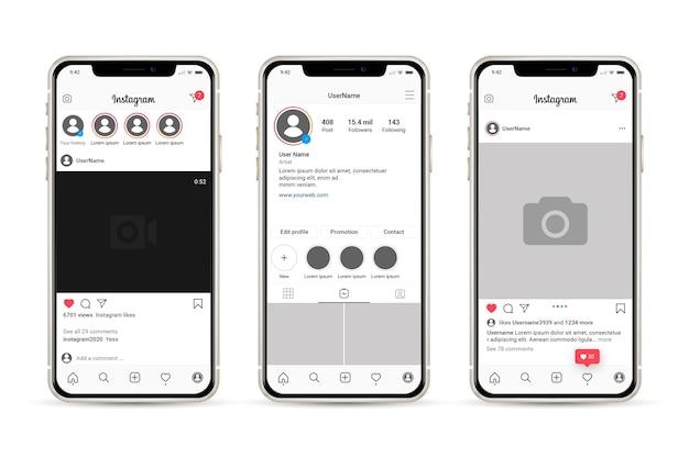 휴대폰으로 Instagram 프로필 인터페이스 템플릿 프리미엄 벡터