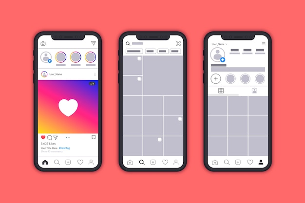 Instagram profile interface template with mobile Free Vector