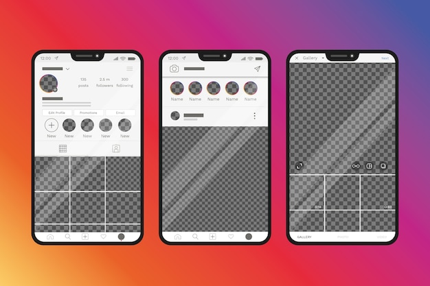 Instagram profile interface template with phone design Free Vector