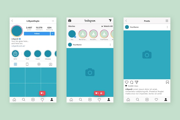 Instagram profile interface template Free Vector