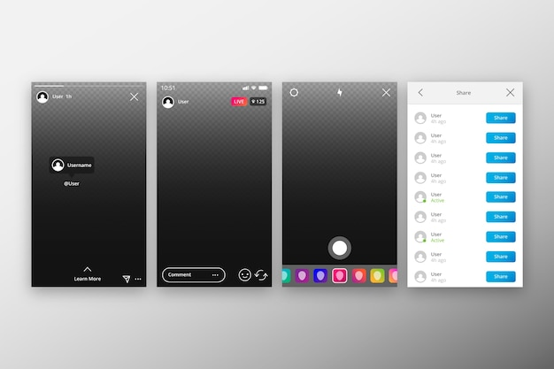Instagram profile stories template concept Free Vector