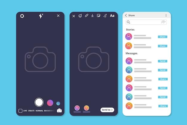 Instagram profile stories template Free Vector