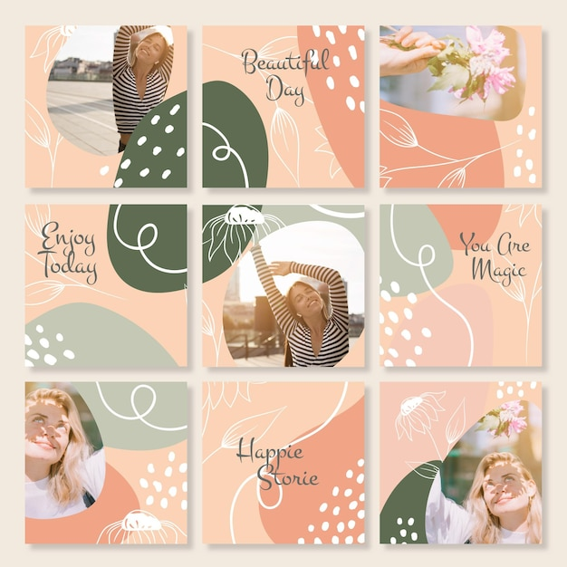 Instagram puzzle feed collection Free Vector