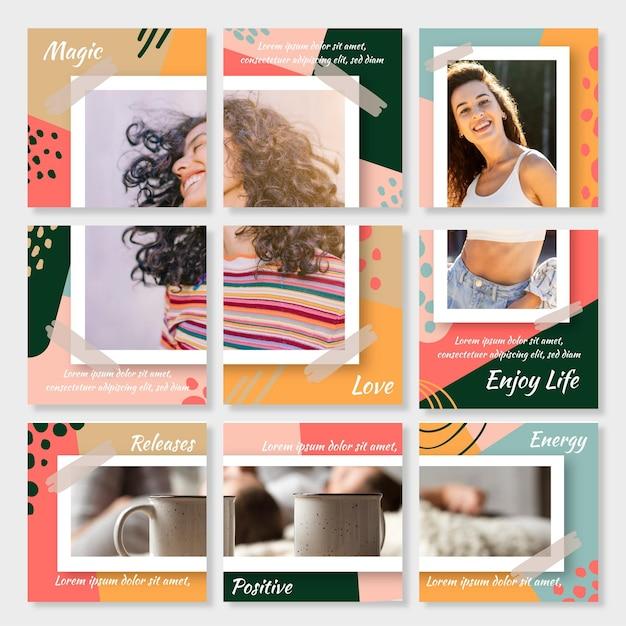 Set di modelli di feed puzzle di instagram Vettore gratuito