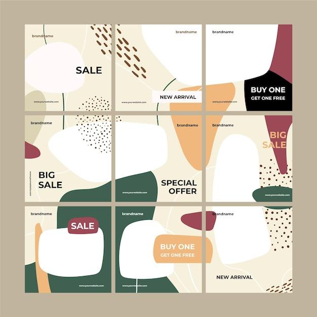 Instagram puzzle feed modello sfondo macchiato Vettore gratuito
