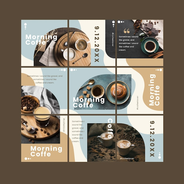 Instagram puzzle feed template Free Vector