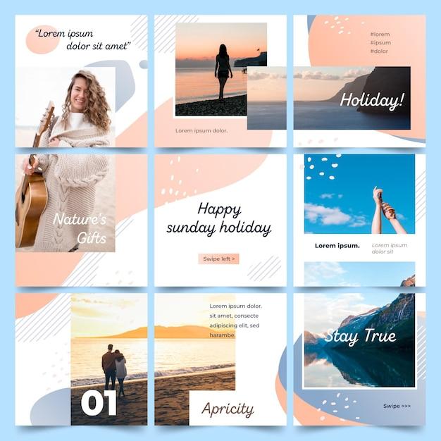 Modello di feed di puzzle di instagram Vettore gratuito