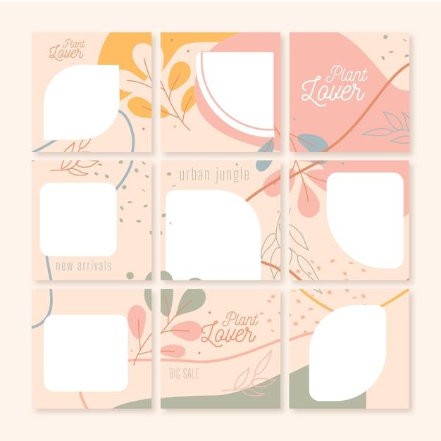 Коллекция шаблонов ленты instagram puzzle Premium векторы