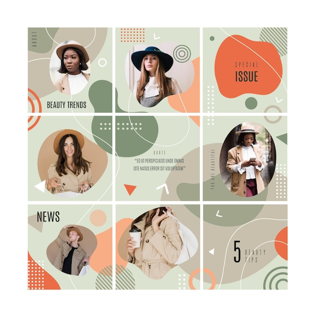 Instagram puzzle feed with templates collection Free Vector